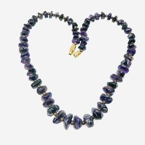 "Vintage Amethyst Gemstone Nugget Necklace 18"""